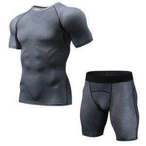Sportswear Set Men Running Sport Tracksuit Fitness Men T shirt+Shorts Gym Run Jogging Quick Dry Clothes