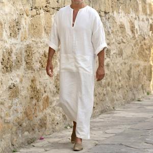 Männer Leinen Soft-Muslim Robes Abaya Dubai Arabische Islamische Kleid Kleidung Kaftan Jubba Thobe Qamis Homme Islam Traditionelle Kostüme