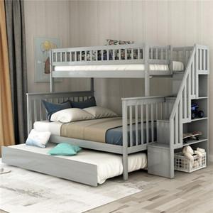 Твин над полной лестницей двухъярусная кровать с выдвижной лестницей спальня гостиная мебель серый стиль детская кровать