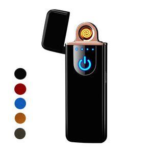 6 colores de moda a prueba de viento del cigarrillo del USB recargable electrónico Encendedor pantalla Switch sin llama táctil portátil Encendedores creativas