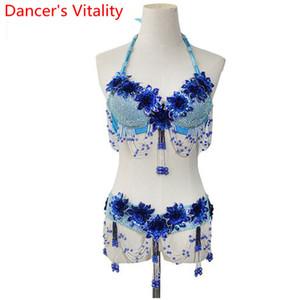Sıcak Satış Belly Dance Kostüm Suit Kadınlar Dance Wear Balo Latin Oryantal Performans Rekabet El yapımı Boncuk Set 2adet