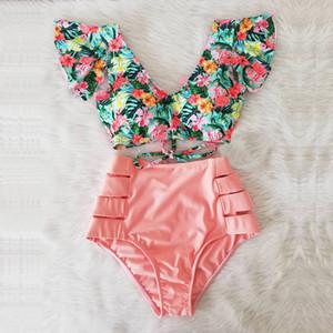 섹시한 비키니 2020 새로운 더블 어깨 프릴 비키니 세트 높은 허리 수영복 여성 수영복 V - 목 수영복 비치웨어 수영복