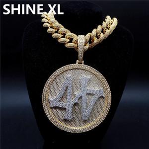 Iced Out Большого круглого Spinner номер 44 ожерелье позолоченного Mens Hip Hop Bling подарок ювелирных изделий