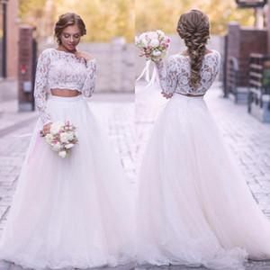 2020 Boho 2 Piezas vestido de boda vestido de la tapa del cordón de la ilusión de manga larga boda del país de la falda de Tulle una línea barrer de tren Vestidos de novia