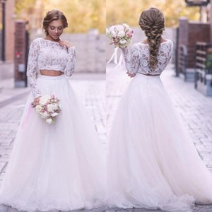 2020 Boho 2 Vestido Pieces Wedding Illusion Lace Top manga comprida vestido de casamento País Tulle Skirt A Linha Varrer Vestidos Train nupcial