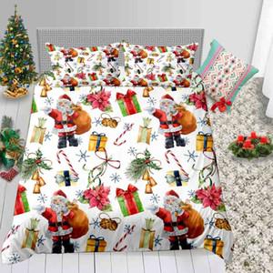 Noël Literie Hot vente Roi Père Noël Cadeaux Imprimé Cartoon Housse de couette Reine double lits jumeaux avec lit complet Couverture Taie 3pcs