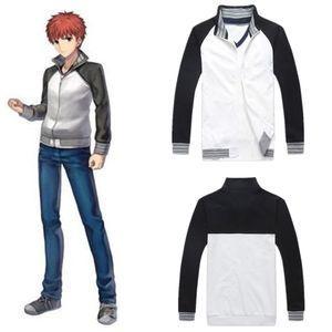 Traje de Cosplay del Anime Fate Stay Night Emiya Shirou de Halloween de la cremallera de manga larga chaqueta de la capa (tamaño asiático)