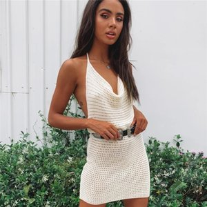 Sexy Backless Dress With V Neck Halter Knitted Hollow Out Evening Party Bandage Bodycon Women Summer Casual Short Mini Dress