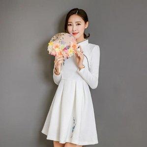 2019 Hot medio fondo la lunghezza del vestito ragazza abiti Short Daily Cheongsam Qipao miglioramento a breve estate del manicotto
