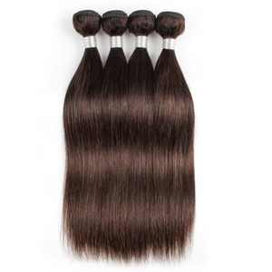 # 2 Offerte di pacchi umani marrone scuro Tessuto brasiliano dritto per capelli umani Tesse 3 o 4 fasci 12-24 pollici 100% estensioni dei capelli umani di Remy