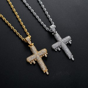 Luxury Gold & White Gold CZ Cubic Zirconia Blingbling Water Droping Cross Pendant Necklace Hip Hop Iced Out Diamond Jewelry for Men & Women