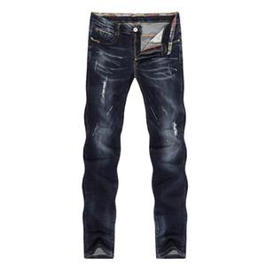 Jeans pour hommes déchirés Striaght Slim épais bleu foncé élasticité peint doux Jeans Biker High Street Pantalons Cowboys en détresse