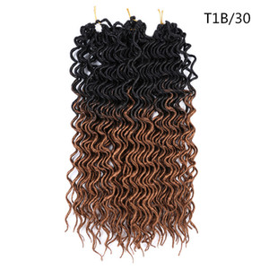 Goddess Deep Faux Locs Curly Crochet Braids Hair 24Roots 18Inch Ombre Synthetic Dreadlocks Hair Extensions 70g pc For Women