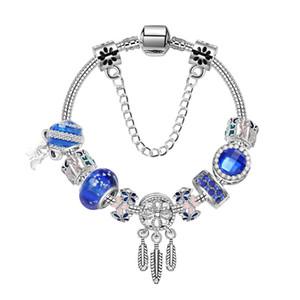 Art und Weise neu Traumfänger Blue Opal Perlenarmband blaue Kristallglas-Schmetterling Bracelet1020