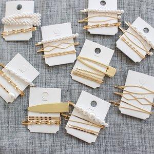 GOCCIA SPEDIZIONE 12 set / Metal Accessori Per Capelli Minimalista Geometrica Irregolare oro perla Clip di Capelli Perla Tornante capelli Barrette Hairgrip