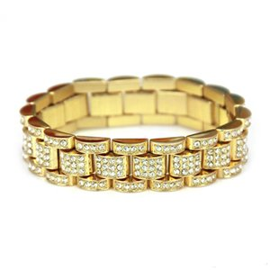 Wholesale-Fashion Gold Fully Iced Out Hip Hop crystal Bracelet Mens Cuban Bracelet Men s Simulated Bling Rhinestones Bangles