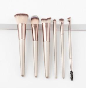 Beauty Tools 6pcs hochwertige Make-up Pinsel Set Foundation Champagner Gold Holzgriff Pinsel