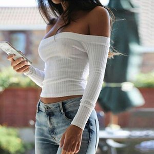 Wholesale-2017 Autumn Women Off Shoulder Crop Top T Shirts Long Sleeve Solid Short T-shirts For Women Clothing Fashion Slim Black T-shirt1