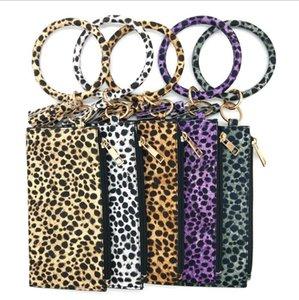 Ragazze regalo della catena Leopard Bracciale portachiavi Hang borsa del cambiamento della nappa Wristlet Portachiavi Pochette Wristlet Bracciali chiave 6 colori DW4914