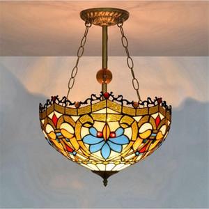 lustre européen en verre rétro Tiffany salon chambre verre bar-restaurant modarn lustre éclairage TF006