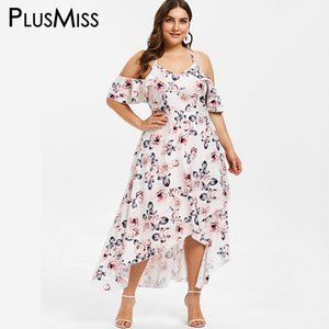 플러스 플러스 플러스 사이즈 5XL 콜드 숄더 플로랄 프린트 맥시 롱 드레스 여성 XXXXL XXXL 빅 사이즈 프릴 비치 Boho Tropical Dresses