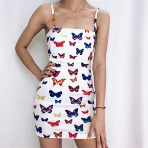 2020 Lady Strap Dress Butterfly Print Sexy Bodycon Spaghetti Slip Women Casual Dress New Arrivals free shopping