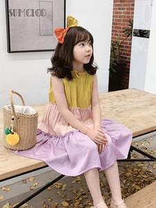Sumcico 2020SS Son Kızlar Gökkuşağı Giysi Bebek Prenses Bow Kolsuz Plaj Sundress, Çocuk Yaz Burgu Elbise Yaş 2-15Y