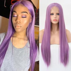Frente rosa del cordón de la peluca sintética resistente al calor a largo recta de seda atada mano sin cola púrpura lacefront pelucas para mujeres Negro