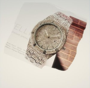 Alta calidad famosos amantes del lujo de los hombres automática heló hacia fuera los diamantes de las mujeres reloj de oro de negocios Reloj Big Diamond Relojes Hombres