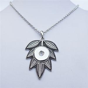 Zinc Alloy Big Leaf Metal 18mm Snap Buttons Pendant Necklace Women Fashion Noosa Chunks Jewelry