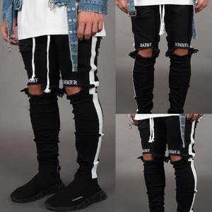 رجل سروال رصاص هول المكسور الجانب من الشريط نمط جديد جينز الأوروبية والأمريكية الرياح شارع العليا السراويل