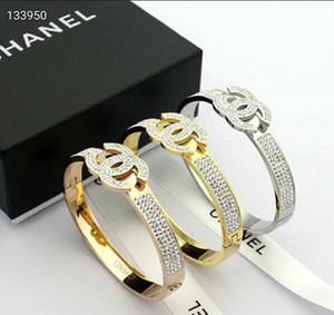 Caliente la venta de la letra ch Mejor circón de oro rosa y negro joyería sencilla nave pulseras brazalete para mujeres y niñas libre con la caja