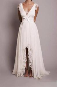 Una linea bianca abiti da ballo v scollo profondo hi-low abiti da sera semplici abiti da ballo stile rustico