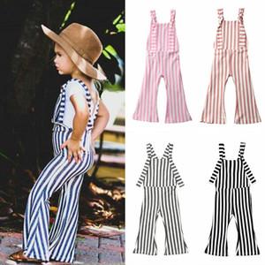 2019NEW Çocuk Kız Bebek Çizgili Bell Dipli Pantolon Pantolon Romper Jumper Kıyafet