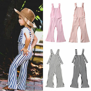 2019NEW Enfants Baby Girl Stripe Bell-Bas Pantalons Pantalons Romper Jumper Outfit
