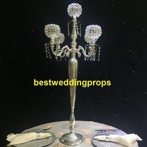 Yeni stil Düğün Centerpieces Kristal Şamdan Pillar Mumluk cam boncuk ile Set Altın Metal Mumluk best01053