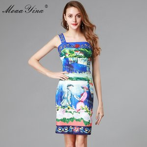MoaaYina Fashion Designer Runway Dress Summer Women's Spaghetti strap Backless Beading Romantic love Floral Print Slim Dress