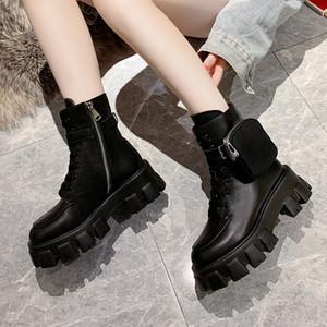 Kadın ayakkabı Lolita Boots Lace Up Kış Ayakkabı Yuvarlak Burun Düz Topuk Ganimet Kadın Platformu Boots-kadın moda