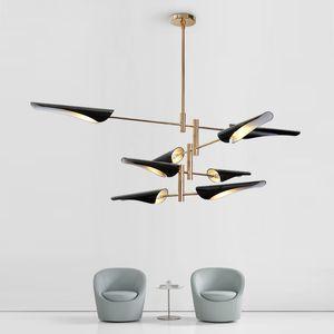 Araña de iluminación Nordic Designer´s Choice Chandelier Post Modern Creative Chandelier Pantalla blanca / negra Avize Modern Lamp AC 90-260V