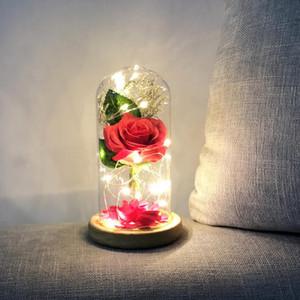 LED Beauty Rose and Beast Glass Dome Light Silk Sesame Flower Lights LED Light Strings for Christmas Valentine's Day Rose Lamps