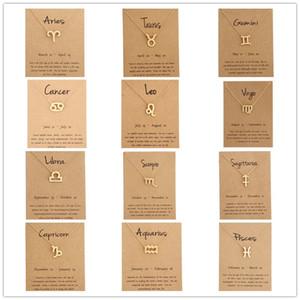 Gioielli di moda 12 Constellation Pendant Necklace Zodiac Sign Collana Regali di compleanno Message Card per le donne ragazza
