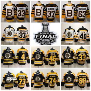Stanley Cup Finales Patch Boston Bruins Blanco Blanco 33 Zdenó Chara 37 Patrice Bergeron Brad Marchand Jerseys David Pastrnak Charlie McAvoy