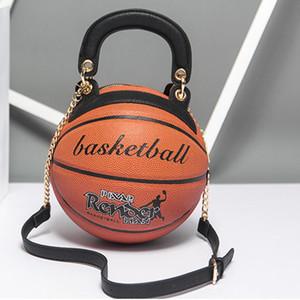 Hombro Mujeres Ronda Bolsa de baloncesto al estilo de personalidad de la manera bolso de cadena diagonal paquete de totalizador de la PU del bolso de Crossbody