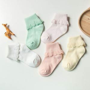 5 Pairs Cute Lace Ruffles Baby Girl Socks Kids Cotton Soft Solid Color Socks