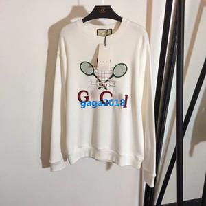 하이 엔드 여자 여자 특대 스웨터 테니스 자수 편지 긴 소매 면화 저지 블라우스 캐주얼 셔츠 패션 디자인 럭셔리 가기