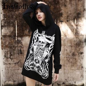 InsGoth Femmes Sweats à capuche Harajuku grunge gothique skull imprimé sweats à capuche noire en vrac pull avec capuche Streetwear Top Fashion