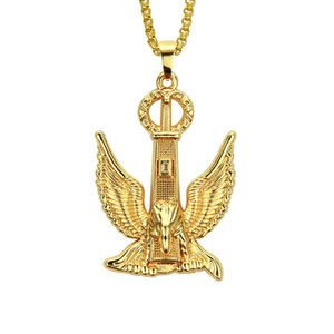 K Three-dimensional Golden Eagle Pendant Necklace Hip Hop Jewelry