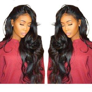 Merletto pieno afroamericano wigss capelli capelli umani non trattati Glueless Virgin brasiliano corpo lungo onda Lacefront parrucche per le donne