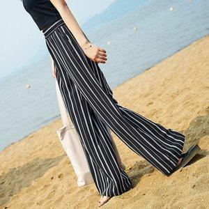 Корейский стиль моды Широкие брюки ноги женщин высокой талией нашивки Брюки Повседневный Summer Street Wear