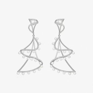 Hot sale S925 silver needle luxurious European and American explosion models wind chime pearl diamond earrings goddess essential earrings